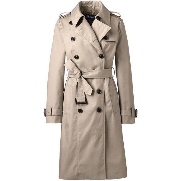 Lands' End Women's Petite Cotton Trench Coat (9.585 RUB) ❤ liked on Polyvore featuring outerwear, coats, lands end coats, trench coats, petite coats, cotton coat and brown double breasted coat
