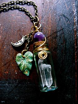 Crystal gem bottle necklace