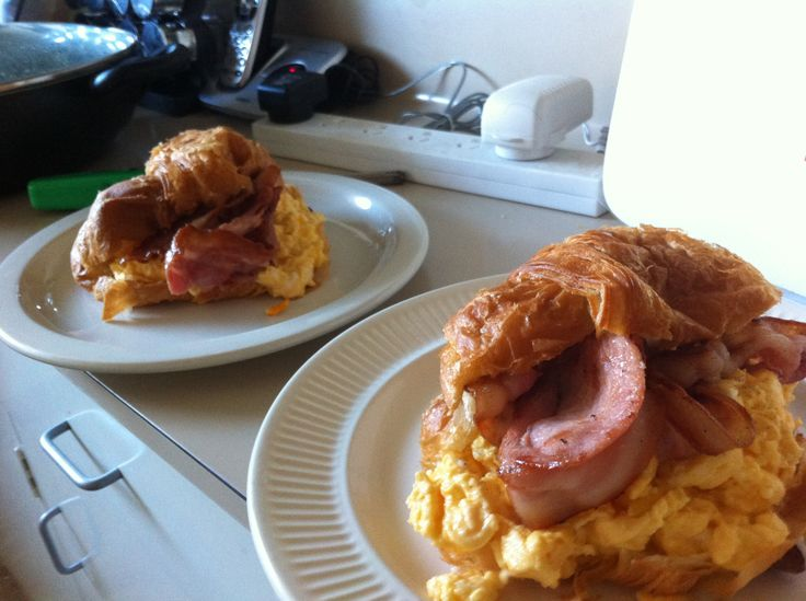 Breakfast for kings! Bacon, scrambled egg and hollandaise croissant