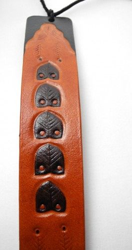 Leather bracelet, hand-carved and hand-painted, snake and owls inspired by ancient Dacian silver bracelets