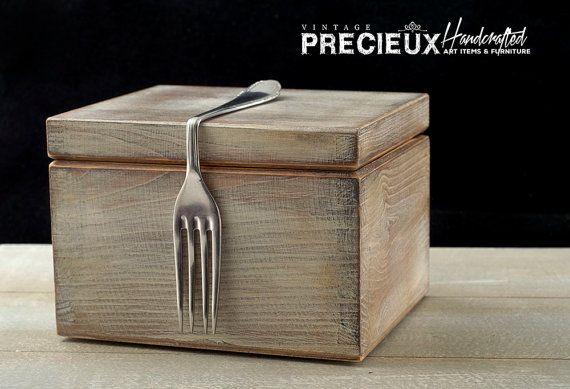 Recipes Box Vintage Wooden & Fork Handle Art by vintagePRECIEUX