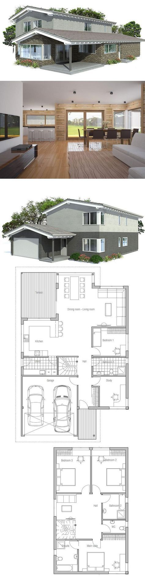 Large Modern House Plan with double garage