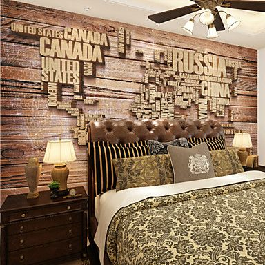 JAMMORY 3D Wallpaper For Home Contemporary Wall Covering Canvas Material Mural Wooden Alphabet Map3XL(14'7''*9'2'') 5135157 2017 – $195.99
