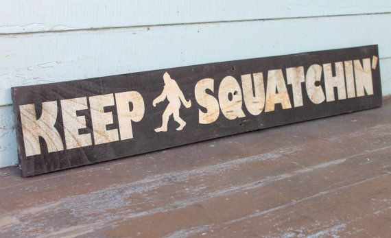 Bigfoot Sasquatch Wood Sign Funny Humor Art Rustic Wooden Reclaimed Pallet Wall Hanging Decor