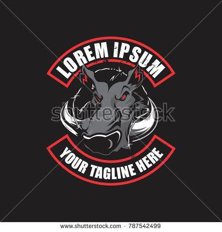 wild boar hunting club logo vector