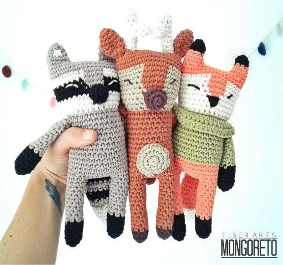 Raccoon, deer and fox amigurumi pattern