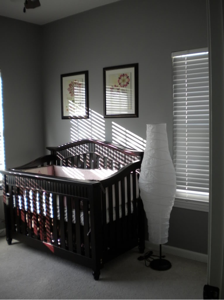 Paint Colors For Baby Boy Nursery: Gray Walls With Dark Crib