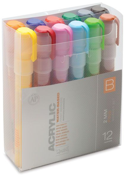 Montana Acrylic Markers-Set B, Fine Point, Set of 12, this is fine point but I want the 15mm tip, large stroke acrylic pens in the lime, opera, sky blue etc. recommended by Roz for broad strokes