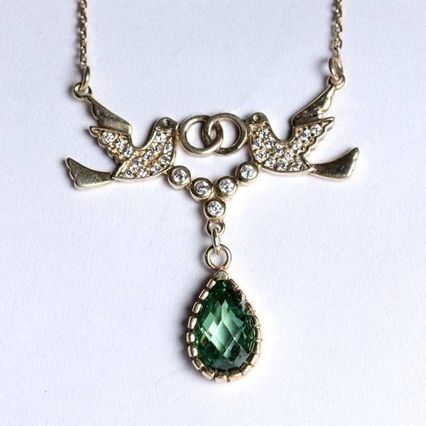 925 ayar, alyans taşıyan güvercin modelli, gümüş bayan kolyesi