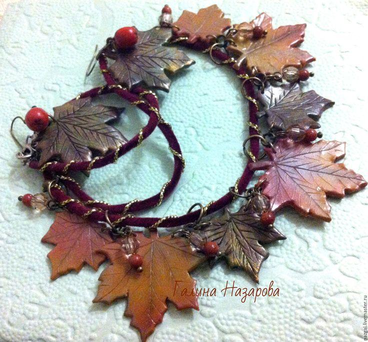 Купить Украшение Осенние листья клена из полимерной глины - рыжий, полимерная глина, осень