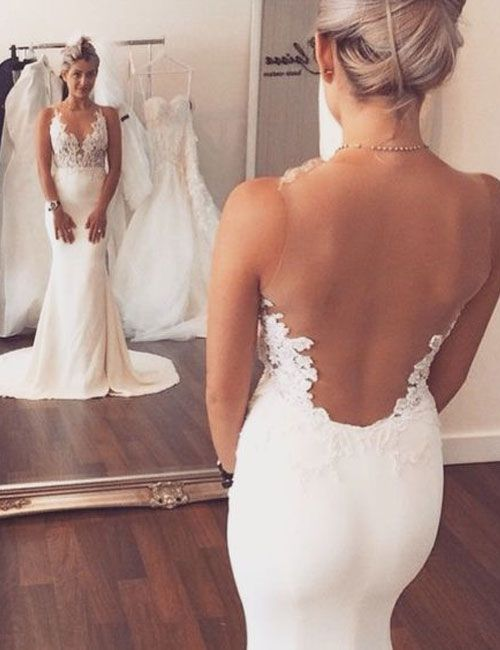 Fashion V-neck Lace Appliques Sheer Back Mermaid Wedding Dress,wedding dresses 2016,mermaid wedding dresses,backless wedding dresses