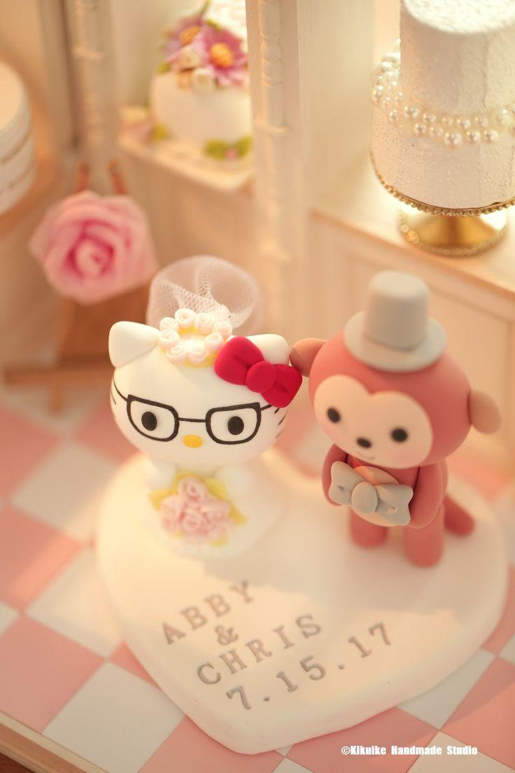 Hello Kitty and monkey bride and groom custom wedding cake topper,characters cake topper and cake decoration ideas. #weddingideas #planning #kitten #cat #cartoons #initials #handmadecaketopper #unique #claydoll #animalscaketopper #ceremony #bridalbouquet #bridalhair #cute #kikuikestudio #justmarried #miniatures #dollhouse #cakeshop #bakery #結婚式 #Hochzeit #boda #nozze #mariage