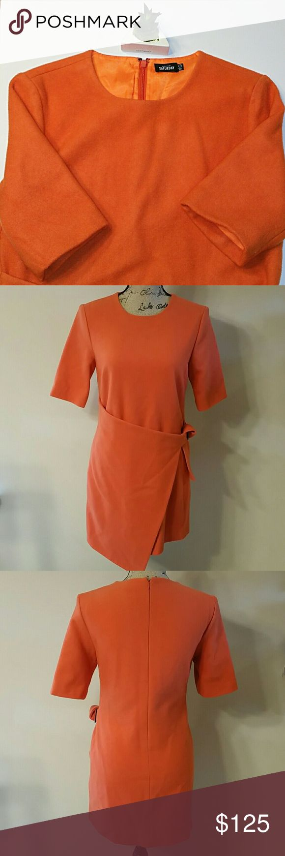 """{Kate Spade Saturday} Orange Wool Belted Dress Gorgeous wool dress by Kate Spade Saturdat. In great used condition. Small areas that are missing some wool, but barely noticeable (see picture 7) Measurements: Length: 33"""", Bust: 17"""", Waist: 16"""". Professional Dry Cleaning Recommend. Kate Spade Saturday Dresses Asymmetrical"""