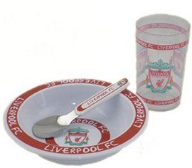 Liverpool Breakfast Set consists of a cereal bowl, a clear plastic cup and a spoon, see the liverpool soccer souvenir range at Soccer Box http://www.soccerbox.com/liverpool-football-shirts/liverpool-souvenirs/