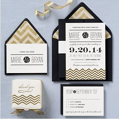 Gold Chevron Wedding Invitations