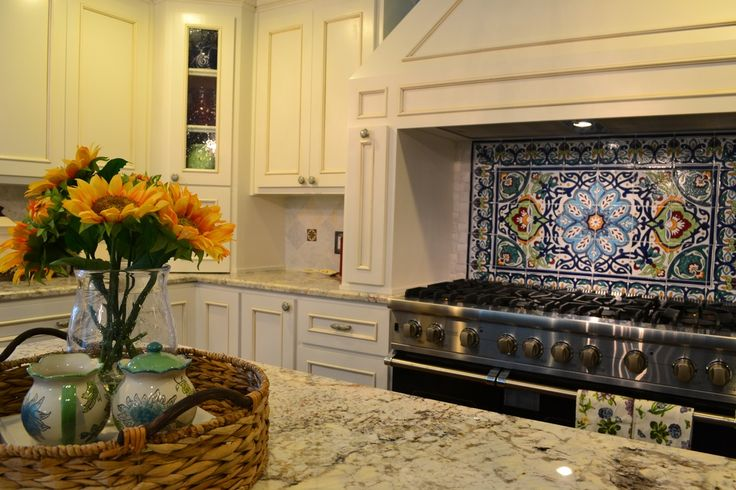Traditional Kitchen with Kitchen island, Ms international blanco tulum granite, mexican tile backsplash, Large Ceramic Tile