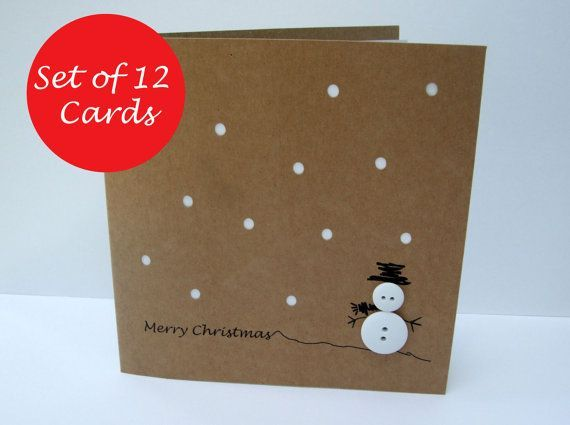 Set of 12 Christmas Cards – Button Snowman – Paper Handmade Greeting Card – Holiday Card – Christmas Card Pack