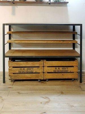 画像1: ≪シェルフ≫【無垢オーク×アイアン オープンシェルフ/Oak-Iron Open shelf】