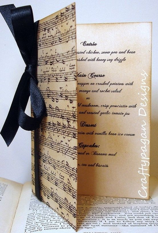 Items Similar To Wedding Menu Or Order Of Service Music Notes By  Craftypagan Designs On Etsy