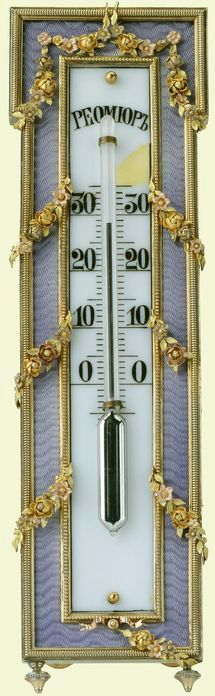 Fabergé thermometer, workmaster Victor Aarne, before 1896, silver-gilt, guilloché enamel and ivory. Purchased in 1898 by Tsar Nicholas II.