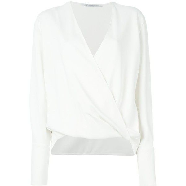 Agnona Wrap Blouse ($606) ❤ liked on Polyvore featuring tops, blouses, white, agnona, white wrap blouse, wrap top, white top and wrap blouse