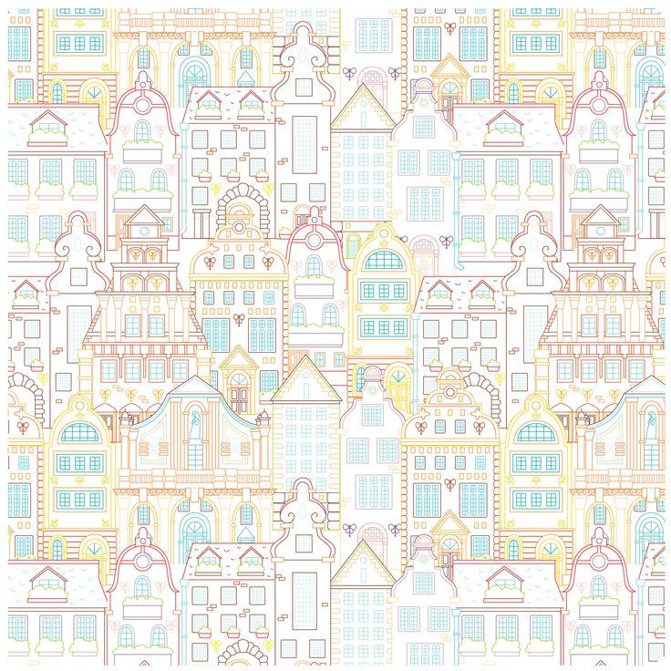 Сообщество иллюстраторов / Иллюстрации / Виктория Холмина / Паттерн для обоев-раскрасок «Город» 60х60 см