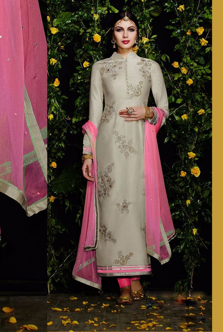 $71.30 Gray Cotton Satin Pakistani Style Suit 57800