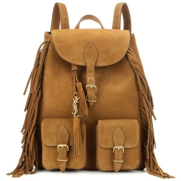 Saint Laurent Festival Fringed Suede Backpack (6.375 RON) ❤ liked on Polyvore featuring bags, backpacks, sac, brown, yves saint laurent, day pack backpack, brown bag, suede leather bag and brown backpack