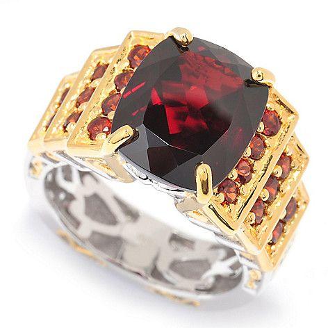 157-707 - Gems en Vogue Final Cut 7.41ctw Cushion Cut Mozambique Garnet Tiered Ring