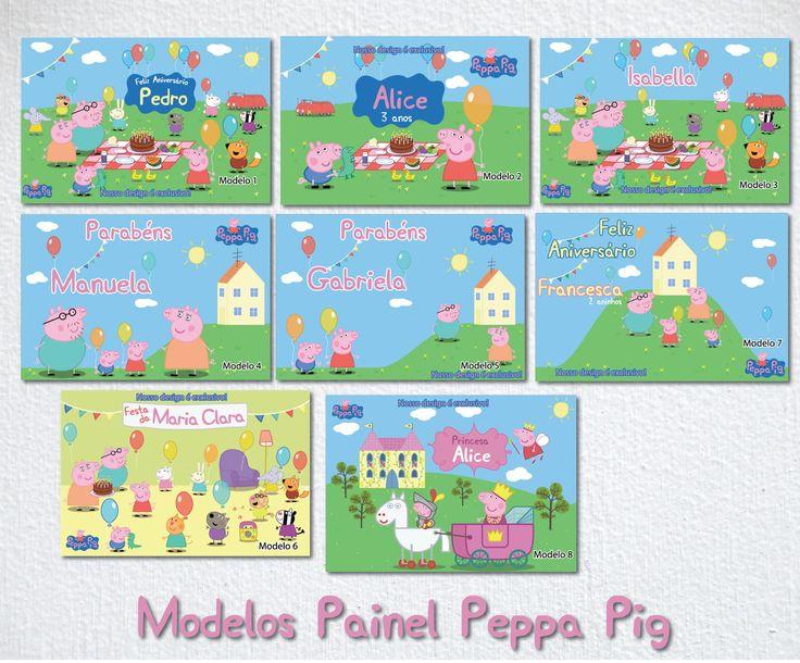 Placa Painel digital Festa Peppa Pig | Bolle Blu Party - Itália | Elo7
