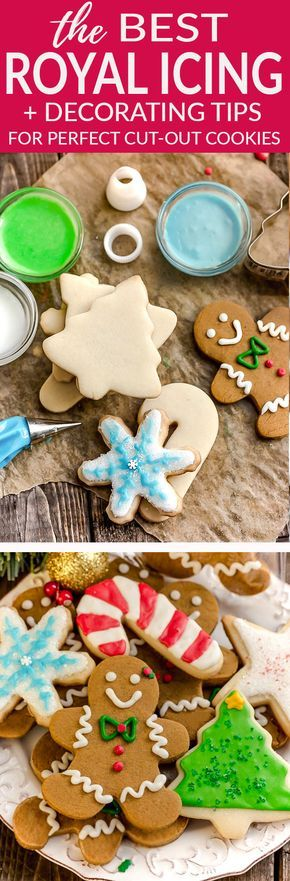 Learn how to make the best Royal Icing recipe used for the perfect cut out sugar or gingerbread cookies for that pretty bakery style look. Only 3 ingredients plus water and your favorite colors to achieve what cake decorator's have been using for years. Plus how to's and step-by-step tips to for fool proof no fail results. #cookiedecorating #royalicing #sugarcookies #christmas #cutout #easter #cookieplatter #gingerbread #icing #bestroyalicing