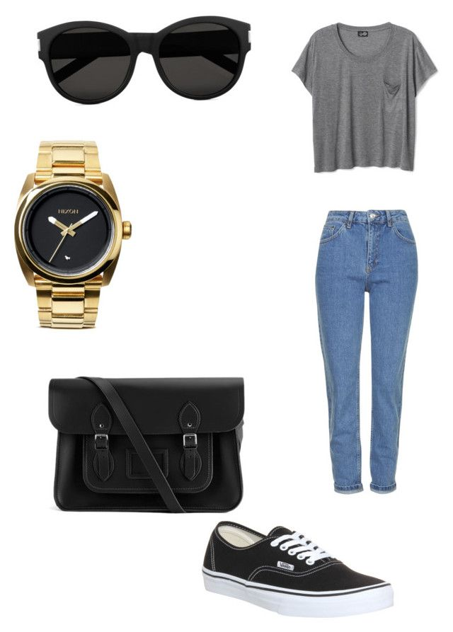 Outfit #3 by dianatairum on Polyvore featuring Topshop, Vans, The Cambridge Satchel Company, Nixon and Yves Saint Laurent