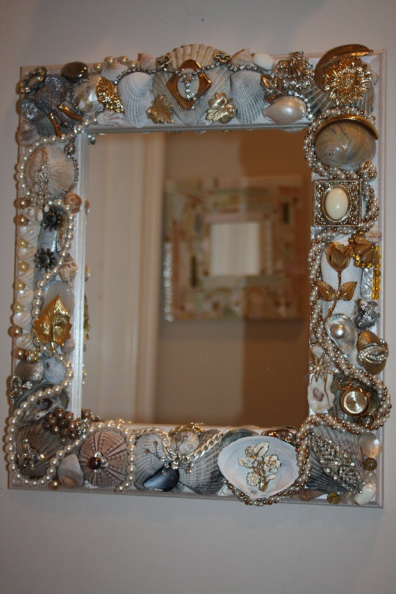 Vintage Jewelry & Sea Shell Embellished Mirror by SeaForYourself, $89.00