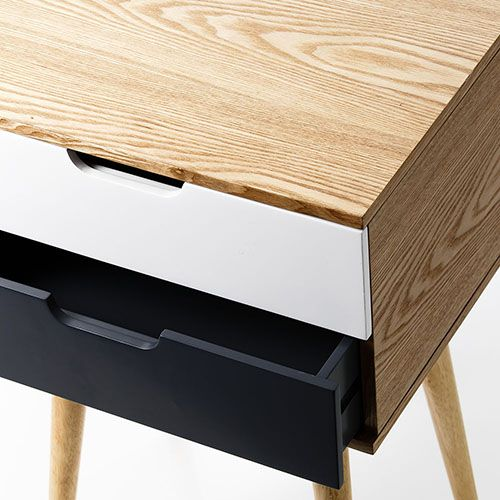 Louis Charcoal 2 Drawer Side Table