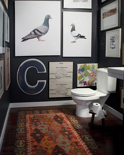 Love The Drama Of A Dark Bathroom.   I LOVE All The Artwork On The Wall    Floor To Ceiling! I Have A Dark Grey Bathroom   Dark Floors   Wonder If ...