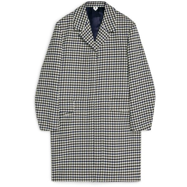 Checked Wool Coat (€190) ❤ liked on Polyvore featuring outerwear, coats, jackets, coats & jackets, checked wool coat, woolen coat, checked coat, oversized wool coat and wool coats