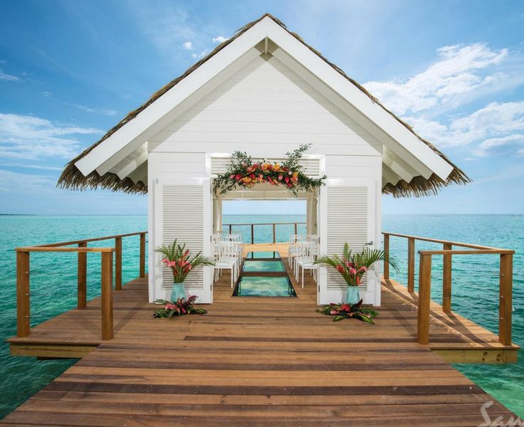Stunning over-the-water wedding chapel at Sandals South Coast Jamaica | Exotic wedding locations | All inclusive destination weddings