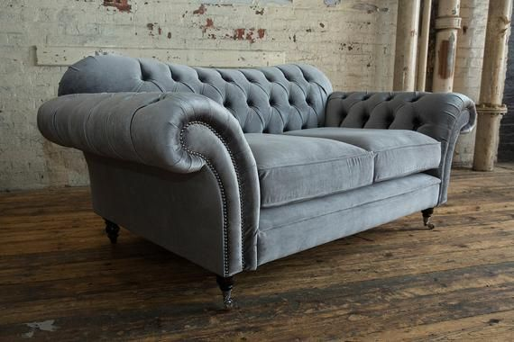 Unique British Handmade Plush Grey Smooth Velvet 2 3 Seater Chesterfield Sofa And Footstool With Images Cushions On Sofa Chesterfield Sofa Cushions Chesterfield Sofa