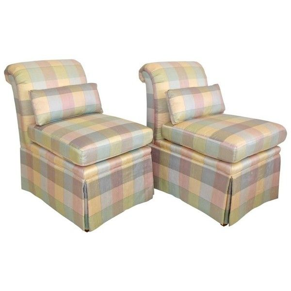 Preowned Pair Of Heritage Slipper Chairs ($1,400) ❤ liked on Polyvore featuring home, furniture, chairs, multiple, slipper chairs, plaid furniture, secondhand furniture, tartan chair, second hand furniture and second hand chairs