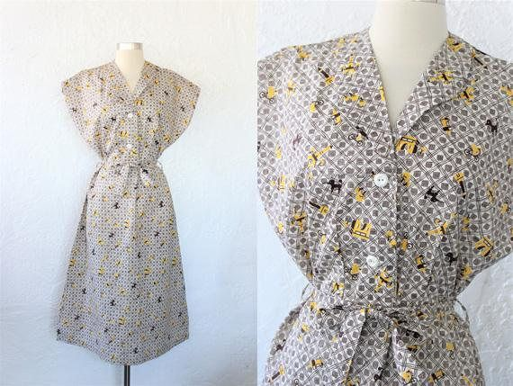1940s Novelty Print Dress / Vintage 40s Deadstock NWT Brown White Yellow Paris Poodle Eiffel Tower Print Cotton Day Dress