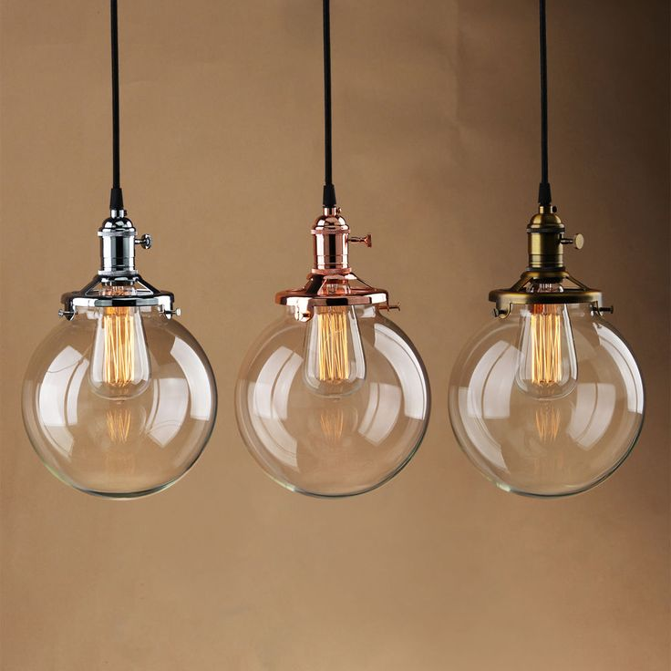Rustic vintage industri pendant light glass globe shad ceiling lamp fixture bulb