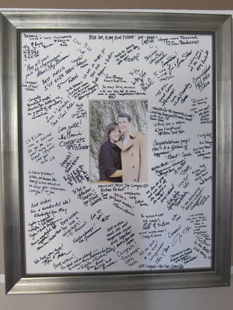 I like this idea. We might need several frames though. 25 Unique Guest Book Ideas |
