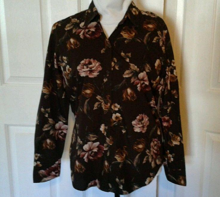 Ralph Lauren Chaps Button Up Shirt, Blouse Brown Flowered Sz L  (runs small)  #RalphLaurenChaps #ButtonDownShirt