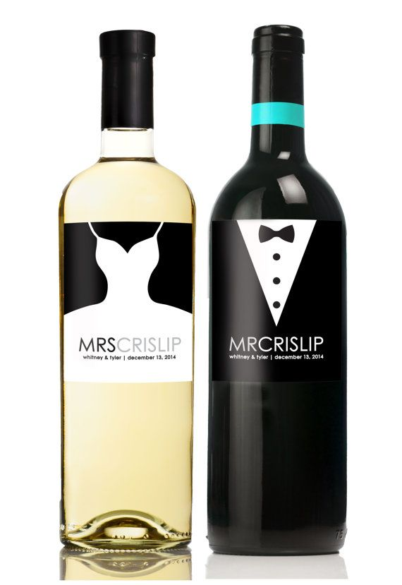 Wine Label - Unique Wedding Gift for Bride and Groom - Champagne Label - Set of 2