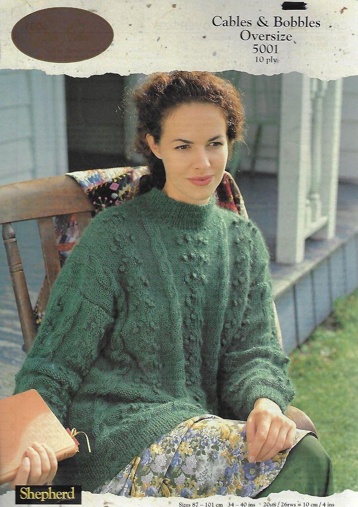 Women's Cable & Bobble Sweater Shepherd #5001 knitting pattern 10 ply aran yarn #Shepherd