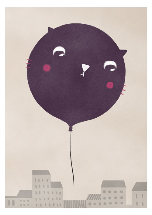Cat balloon by Sara Olmos, via Behance
