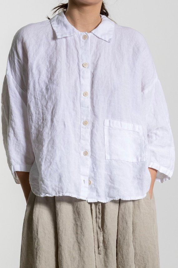 3d5f36e6c2f White Linen shirt LILY. Linen shirt women, 3/4 sleeves shirt , plus size  shirt, tunic shirt , boho shirt | Ropero | White linen shirt, Linen blouse,  ...