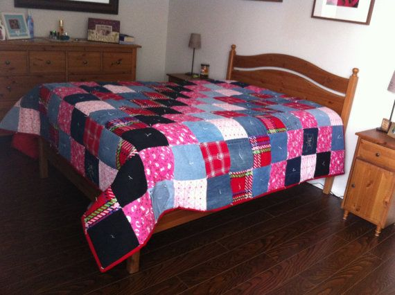 Queen Size Denim Patchwork Quilt Hand Made by CozeeQuilts on Etsy