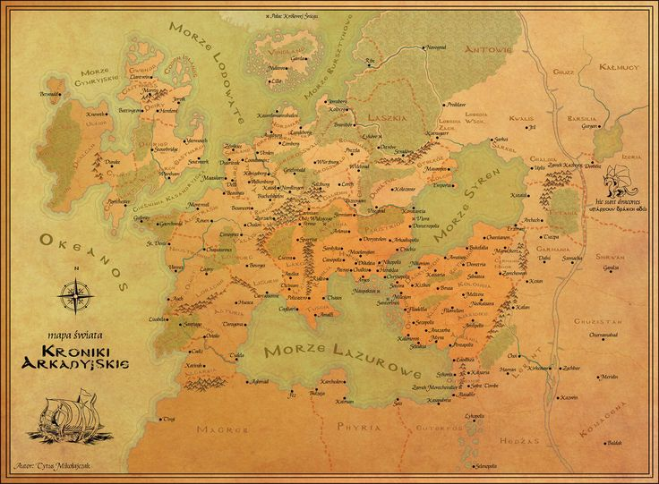 Map of the fantasy world 'Arcadian Chronicles' which I made to my friend's book
