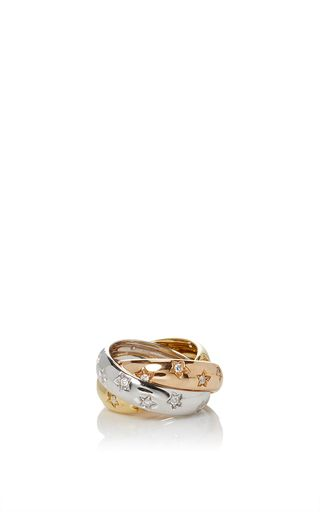 **Gioia's** Rolling ring features an intertwining tri-gold design with rose, white and yellow gold bands. Each band has a starry lining with diamonds at the centers.